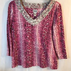 Chico's Pink and White Leopard Print Blouse